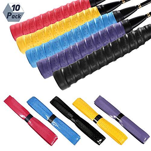 AKlamater SFANK Tennisschlägergriff, 10 Stück Badminton-Schlägergriffe, rutschfester Ersatz-Overgrip, super saugfähiger Squash-Griff 01