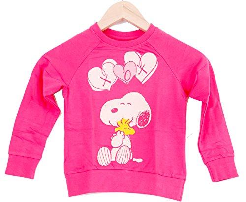Mediablue Snoopy Peanuts Cartoon Happy Cute Kinder Sweat-Shirt (122/128, Rosa)