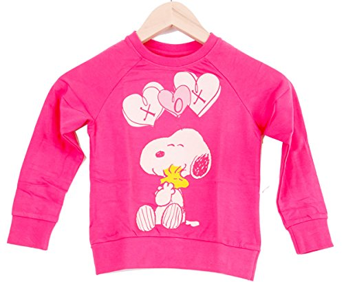 Mediablue Snoopy Peanuts Cartoon Happy Cute Kinder Sweat-Shirt (110/116, Rosa)