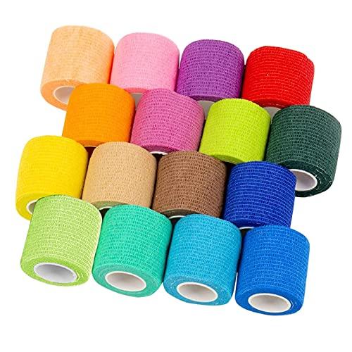 Venda Cohesiva Envoltura Tape Vet, Multifunción Cinta Kinesiologica, 2.5 cm x 4,5 m 16 Pack - Vendaje Autoadhesivo para Primeros Auxilios, Deportivas Vendas Autoadhesivas (Multicolor)