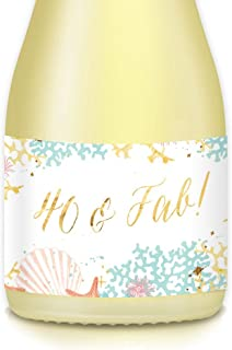HAPPY 40th BIRTHDAY Party Ideas, Mini Champagne & Wine Bottle Labels, She's 40 & Fab! Gold Beach Theme, Mom, Wife, Sister, Friends Birthday, Celebrating Her Fortieth, 20 Count 3.5
