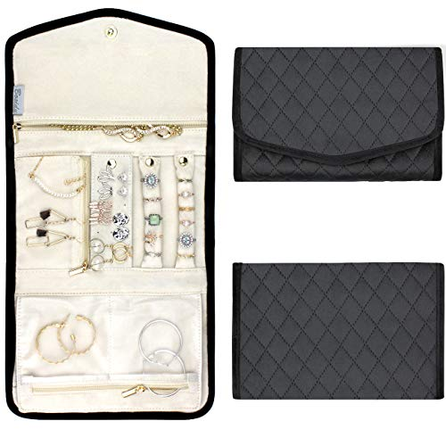 Bosidu Travel Jewelry Organizer Roll for Women,Foldable Jewelry Storage Case for Necklace, Earrings, Rings, Bracelet-Perfect for Daily USE/Traveling