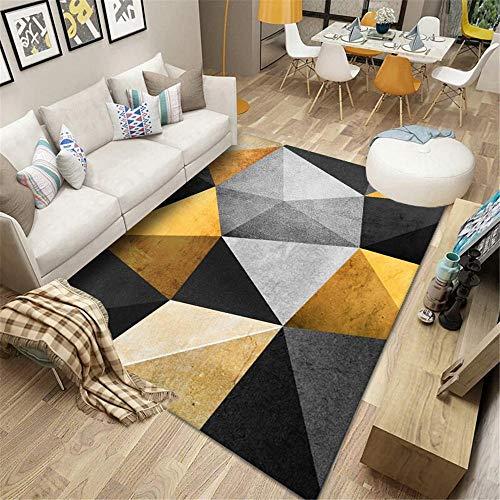 La Alfombra Antideslizantes alfombras Alfombra Suave con diseño geométrico Amarillo Gris Negro fácil de Limpiar Alfombra Pelo Corto Salon Decoracion recibidor 80*150CM