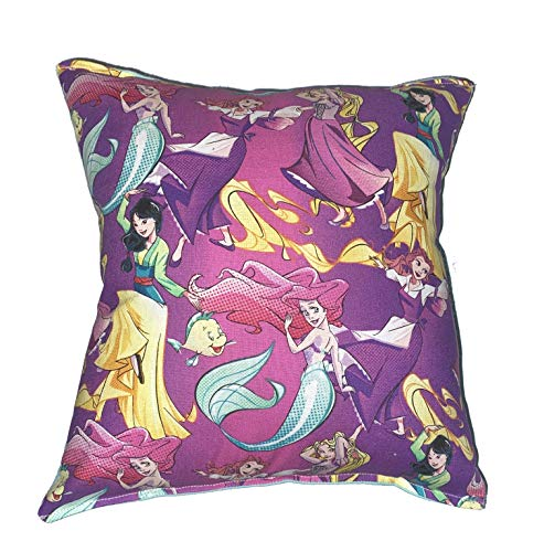 Princess Pillow Ariel Mulan Belle Rapunzel Disney Princesses Florial Pillow All Our Pillows Are Handmade Hypoallergenic Cotton with Flannel Backing Ideal for Gift and Multiple Uses