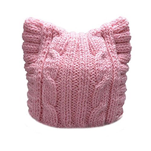 BIBITIME Damen Handgemachte Knit Pussycat Hat März Parade Cap Katze-Ohr-Mütze Referenz Adult-pink