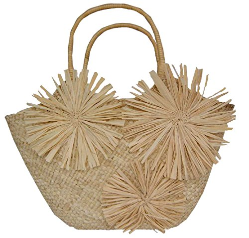 Damen shopper Tasche Damentasche Basttasche Strohtasche Strandtasche Strohsterne Natur Beige