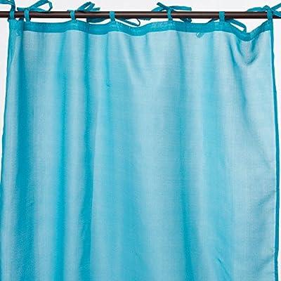 RideauDiscount Voilage Effet Coton 6 Oeillets 140 x 240 cm Uni Bleu Chin/é