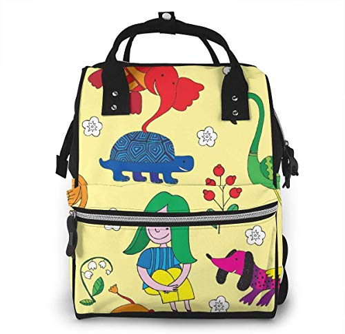 UUwant Sac à Dos à Couches pour Maman Large Capacity Diaper Backpack Travel Manager Baby Care Replacement Bag Nappy Bags Mummy BackpackAnimals and Girl Vector Image