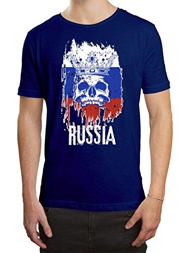 Russland Weltmeisterschaft 2018#21 Premium T-Shirt Fan Trikot Fußball WM Nationalmannschaft Herren Shirt, Farbe:Blau (Royalblue L190);Größe:XXL