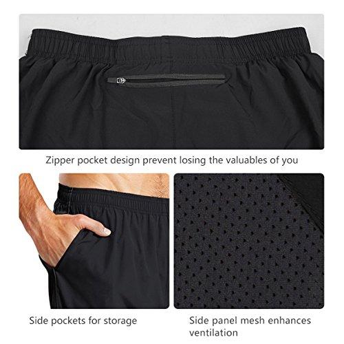 BALEAF Men's 7' Quick-Dry Running Shorts Workout Athletic Shorts Mesh Liner Back Zip Pockets Jersey Shorts Black Size M