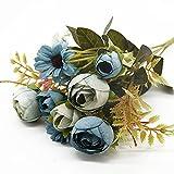 ASDGSDS Flores Artificiales, 1 Manojo 5 Tenedores 12 Cabezas jarrones de Flores Artificiales Accesorios de decoración del hogar Boda DIY Nupcial para Accesorios de Fotos, Azul