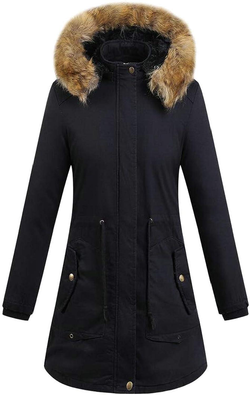Keaac Women Winter Warm Hoodie Faux Fur Down Parka Long Jacket Coats