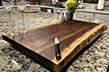 Black Walnut Large, Gorgeous, Full-of-Character, Forest-to-Table Solid Double Live Edge Wood Charcuterie / Appetizer / Dessert / Grazing / Serving Board. 100% USA Handcrafted. 27 x 16 x 1.25'