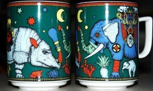 Bopla! Maxitasse (0,3l RHINOPHANT Grundfarbe grün) Serie Paradise Classics Kaffee- Tee- Glühwein- Becher, Maxi Tasse, Mug, Maxi Taza, Maxi Cup, Maxit Taza 0,3 l, 10-1/2 FL. oz.
