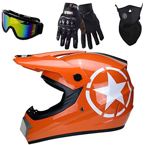 Casco Motocross Niño, ECE Certificación Naranja Star Casco de Moto para Niños, Cascos de Cross de Moto Set con Gafas Downhill, Pro Casco MTB Integral para MX Quad Enduro Motocicleta - S/M/L/XL,L