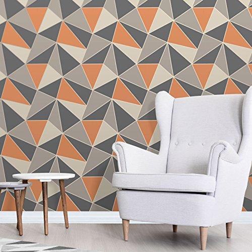 Apex Geometric Wallpaper Burnt Orange and Grey Fine Decor FD42002