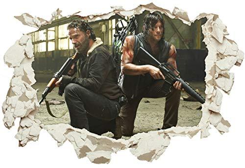 Unified Distribution The Walking Dead - Rick Grimes & Daryl Dixon - Wandtattoo mit 3D Effekt, Aufkleber für Wände und Türen Größe: 92x61 cm, Stil: Durchbruch