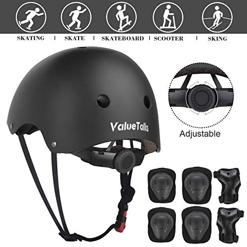 ValueTalks Kid's Protective Gear Set, 7 in 1 Kinds Adjustable Helmet Suitable for Ages 3-10 Years Toddler Boys Girls, Sports Kits Knee Elbow Wrist Pads for Bike Bicycle Skateboard Scooter (Black)