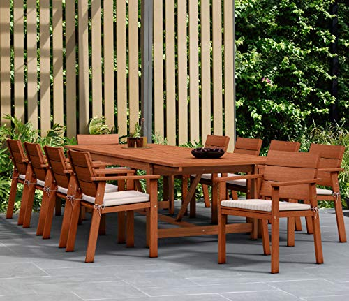Brampton 11-Piece Patio Extendable Dining Table Set | Eucalyptus Wood and White Cushions | Ideal for Outdoors and Indoors, Brown