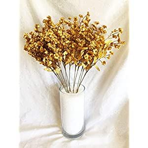 12 Baby's Breath ~ Gold ~ Gypsophila Silk Wedding Flowers Centerpieces Fillers