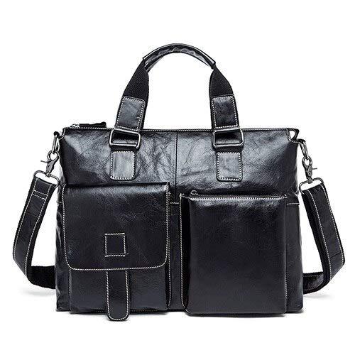 QSGNR Aktentasche Geschäftsleute Aktentaschen Aus Echtem Leder Herren Tasche Männlich 14 Laptop Taschen Umhängetasche Für Männer Leder Aktentasche Anwalt 260 Schwarz-Weiß