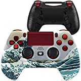 HexGaming Hyper HEX Controller 4 Mappable Paddles & Interchangeable Thumbsticks & Flashshot for PS4 Elite Controller PC Wireless FPS Esports Gamepad - The Great Wave Red