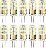 Bombillas LED G4, blanco frío, 6000 K, CA/CC, 12 V, 3 W (equivalente a bombilla halógena de 10 W, 15 W, 20 W), bombilla LED G4 de bajo consumo, tipo Bi-Pin con 48 LED (paquete de 10)