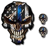 Thin Blue Line Skull with Blue Reflective Eyes Police...