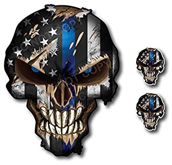 Thin Blue Line Skull with Blue Reflective Eyes Police Officer BLM American Flag Vinyl Decal Sticker Car Truck