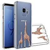 Topnow Samsung Galaxy S9 Case, [Anti-Scratch PC + Shockproof Anti-Drop Soft TPU] Advanced Printing Pattern Phone Cases Glossy Drawing Design Cover for Samsung Galaxy S9(Looking Giraffe)