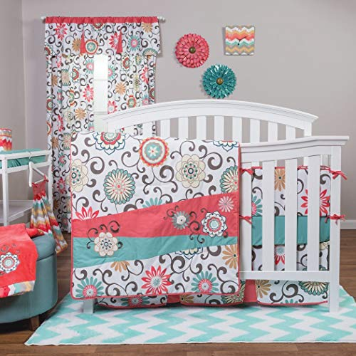 Waverly® Pom Pom Play 4 Piece Crib Bedding Set Chevron/floral Design Quilt, Crib Skirt, 2 Included Fitted Crib Sheets