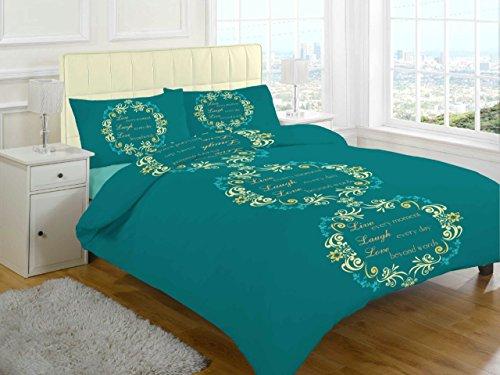 GoldStar Asher Love Teal Flannelette Brushed Cotton Thermal Reversible Duvet Cover Set - King
