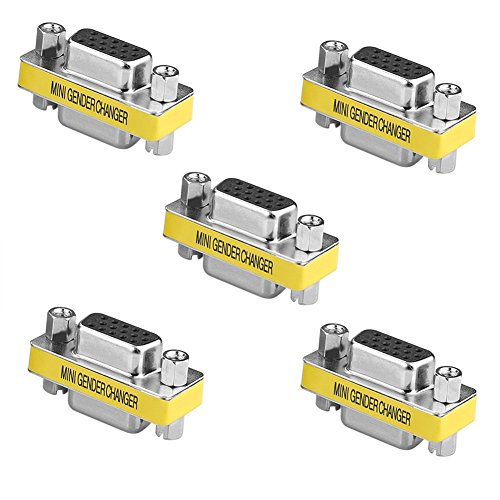 Sienoc Gender Changer HD15F HD15F 15 Pin VGA SVGA Monitor D-SUB Geschlecht Konverter Buchse auf Buchse 5 Stück