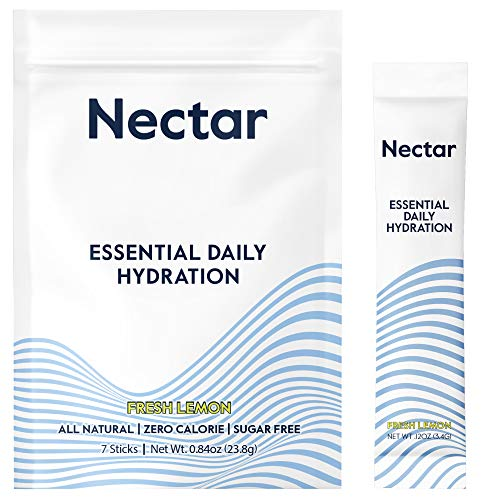 Nectar Rapid Hydration Drink Mix | Sugar and Calorie Free | Clean Electrolyte Powder Packets | Fresh Lemon | Organic Sweetener | Non-GMO | Keto and Paleo | Plant Based | 7 Hydration Powder Packets