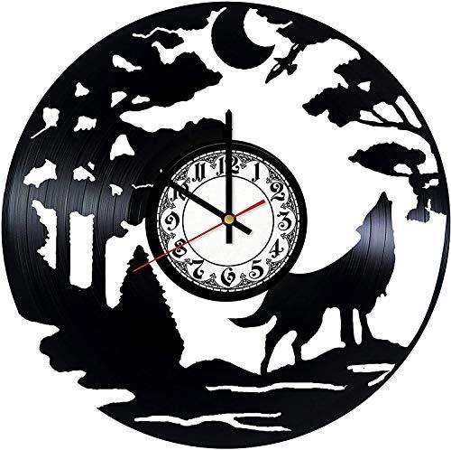 Wolf Nature Vinyl Record Wall Clock, Handmade Gift idea Wall Art Decor Birthday Gift