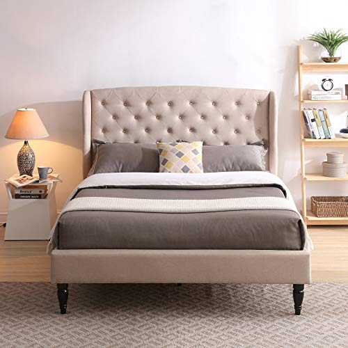 Classic Brands Coventry Upholstered Platform Bed | Headboard and Metal Frame with Wood Slat Support, Queen, Linen