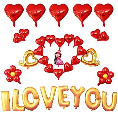JPYZ Palloncini Cuore, 35 Pezzi Foglio di Elio Rosso Cuore Palloncini Set, Palloncini a Cuore Rosso, 16 Pollici I Love You Palloncino per Romantica San Valentino, Matrimoni, Fidanzamenti Decorazioni