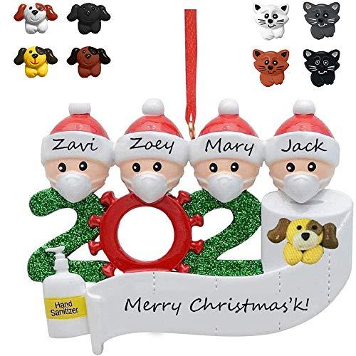 2020 Christmas Ornament Quarantine with pet(optional), 2020 Christmas Ornament with Dog, Personalized Name Christmas Ornament, Dog Ornaments for Christmas Tree, Christmas Ornament with cat (Polyresin)