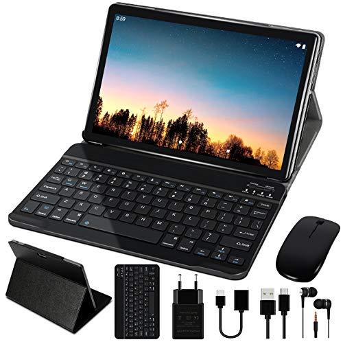 Tablet 10 Pollici 4GB RAM 64GB ROM WiFi + Doppia SIM Lte Android 10 Pro GOODTEL Tablets Doppia Fotocamera | WiFi | IPS | Bluetooth | MicroSD 4-128 GB | con Tastiera Bluetooth e Mouse - Grigio