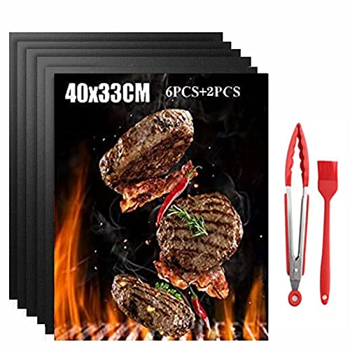 LHAVEUPY BBQ Grillmatte 6 Set, Grillmatten für Gasgrill, Backmatte für Holzkohle & Backen,Teflon Antihaft Wiederverwendbar, Perfekt Für Garnelen,Fleisch, Fisch Und Gemüse,1 Grillbürste 40 * 33
