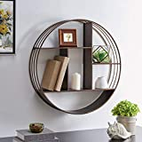 FirsTime & Co. Bronze Brody Industrial Circular Shelf, American Designed, Bronze, 27.5 x 6 x 27.5 inches