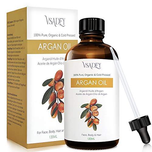Vsadey Aceite de Argán 120ml, Argan Oil 100% Pura Natural de Marrueco, Prensado en Frio, Rico en Vitamina E, Humectante Aligera Estrías y Cicatriz Piel y Cabello