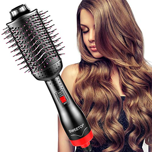 SWEETOP One Step Hot Air Brush Styler 3-in-1 Negative Ionic Hair Dryer Hot Comb Brushes Straightener for Women