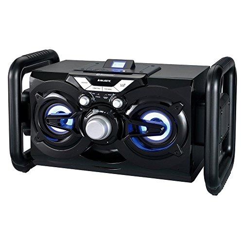 Majestic AH 242 BT MP3 USB AX - Sistema Audio Multimediale Bluetooth Party System con luci blu, Radio FM, Ingressi USB/SD/AUX-IN, batteria interna, Nero