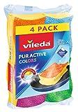 Vileda Pur Active Colors Reinigungsschwammin bunten Farben, 4er Pack