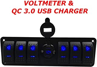 Switchtec 4 6 Gang Rocker Switch Panel w/QC 3.0 USB Charger & Voltmeter, Blue Backlit LED, Pre-Wired, Waterproof Component...