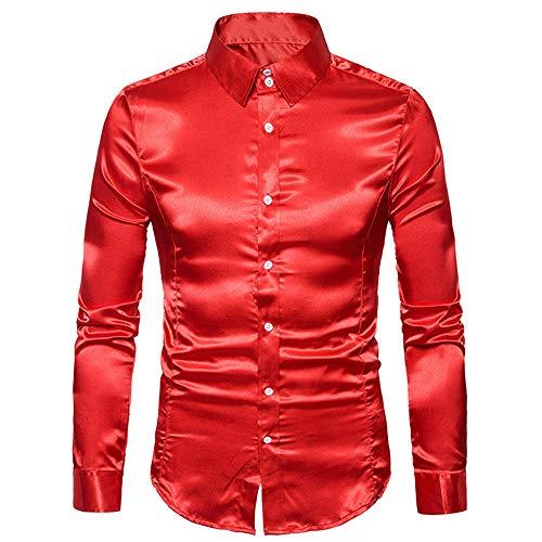 Herren-Hemd - Slim-Fit - Bügelleicht Slim Fit Seidensticker Herren Business Hemd Slim Fit – Bügelfreies, Sehr Schmales Hemd mit Kent-Kragen – Langarm G-Red 2XL