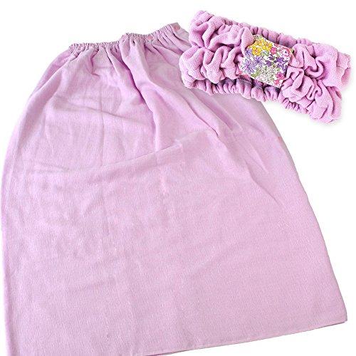 ブルーム スピードライ 大人用 ラップタオル + ヘアバンド 同色セット 綿100% 日本製 (ピンクパープル) ラップヘアバン同色ピンク紫