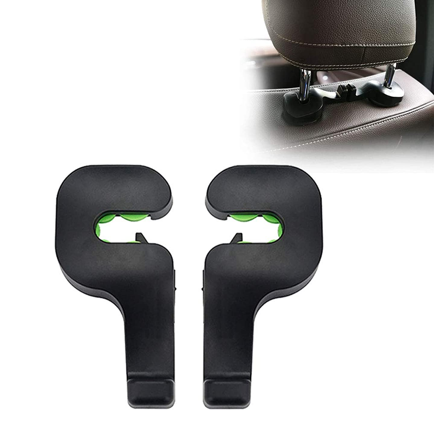 2Pcs Car Headrest Hook For Universal Vehicle Back Seat Organizer Hooks and Hangers With Locking Design For Clothes Purses Bags