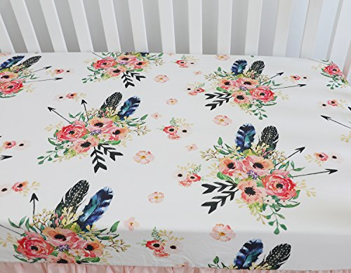 """Baby Girl Floral Fitted Crib Sheet Toddler Bed Mattresses fits Standard Crib Mattress 28x52"""" (Feather Floral)"""